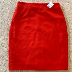 J Crew Red woolen pencil skirt